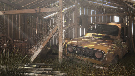 Abandoned Renault 4L in barn