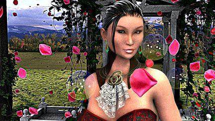 Lady in her rose garden
