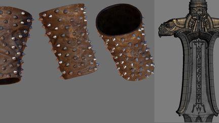 Conan sword wireframe and bracelet