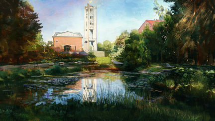 Pond Outside Church