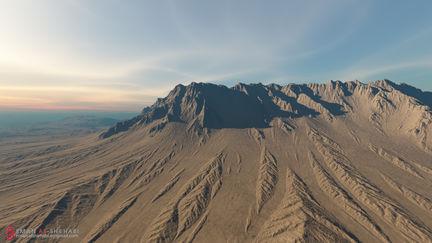 Desert mountain Terragen Matte Painting