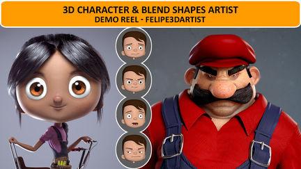 3D Character & Blend Shapes Artist - Demo Reel - Felipe3DArtist