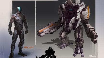 Concept Combat mech with his pilot