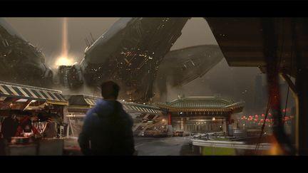 Shanghai 2072. Lotus district view.