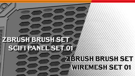 Zbrush scifipanel and wire set 01
