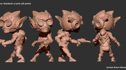 Kit Fox and Terry Torch: Zbrush Sculpts for 3D printing.