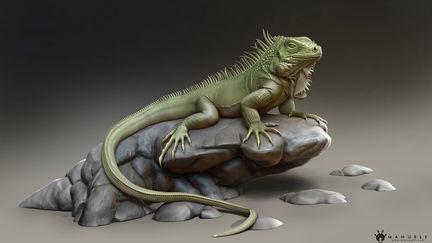 Realistic Iguana Sculpture