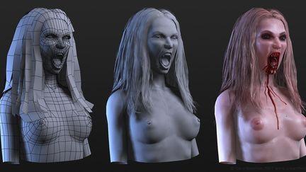 Female Vampire Bust (wires)