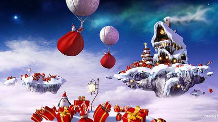 Penguins & baloons helping Santa :)