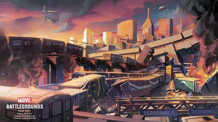 Disney Infinity Marvel Battlegrounds - NYC Train Yard Mood Concept Art