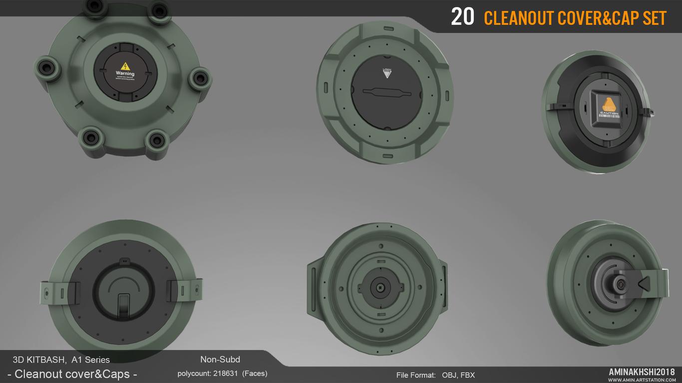 3D Kitbash - Cleanout Cover & Caps