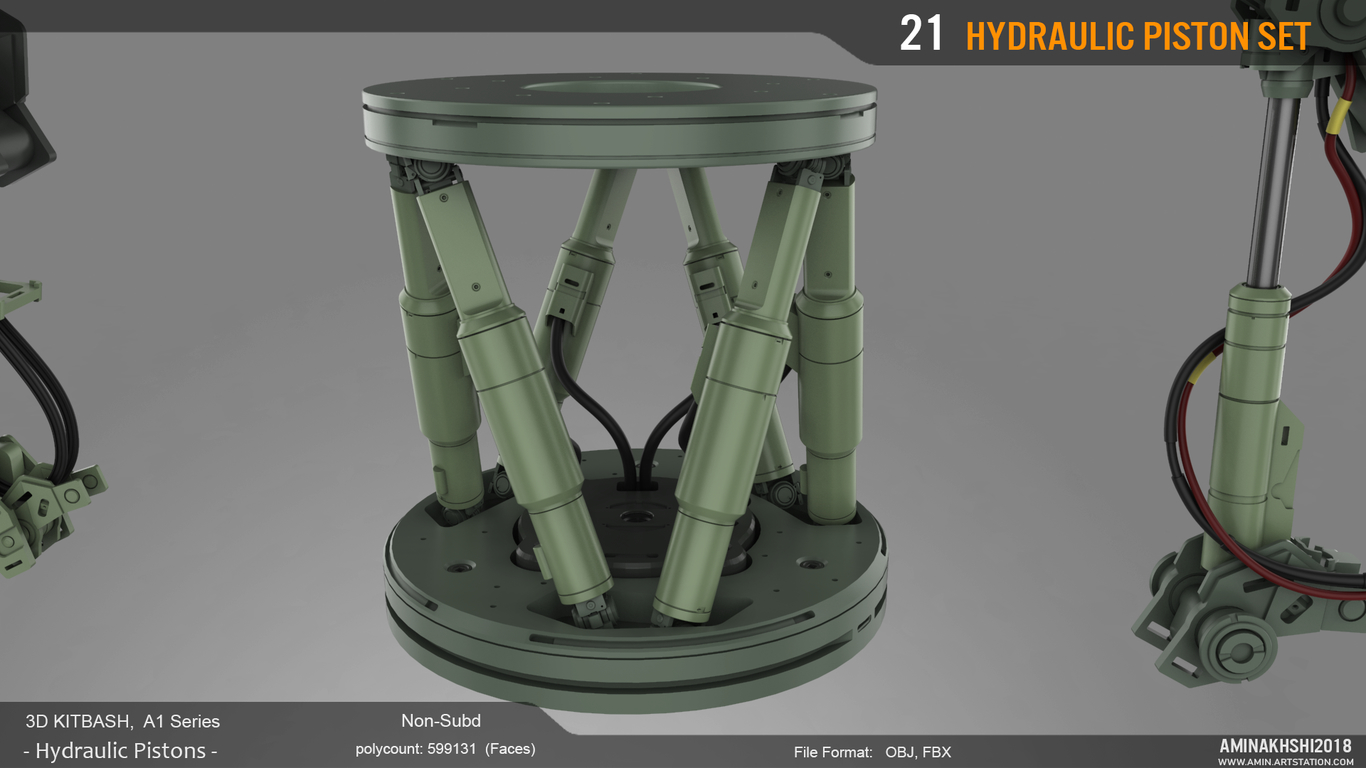3D Kitbash - Hydraulic pistons